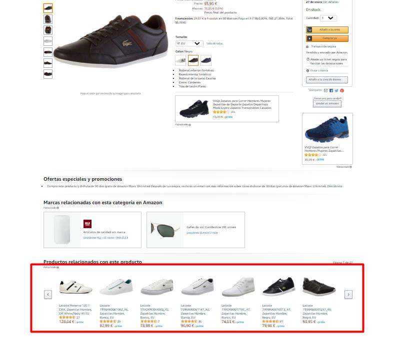 productos patrocinados en páginas de producto